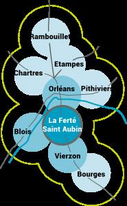 carte de Rambouillet à Bourge en passant par Orléans